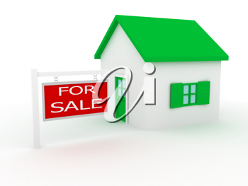 Royalty Free Clipart Image of a House for Sale