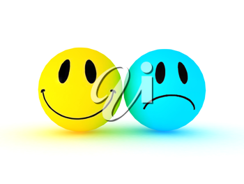 Royalty Free Clipart Image of Two Smiley Faces