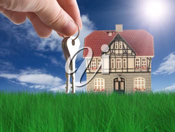 Royalty Free Clipart Image of a Person Holding Keys By a House