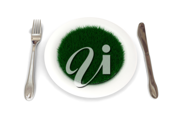 Royalty Free Clipart Image of Grass on a Plate