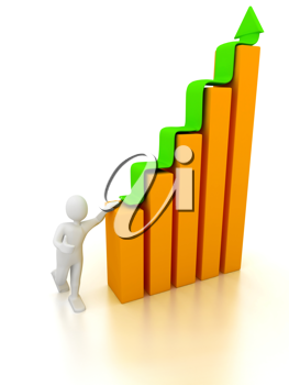 Royalty Free Clipart Image of a Graph With a Person