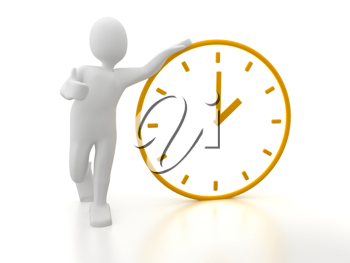 Royalty Free Clipart Image of a Person With a Clock
