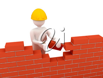 Royalty Free Clipart Image of a Person Building a Wall