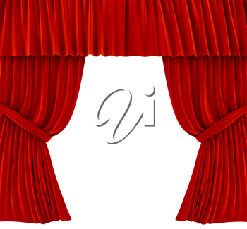 Royalty Free Clipart Image of Red Curtains