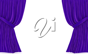 Royalty Free Clipart Image of Purple Curtains