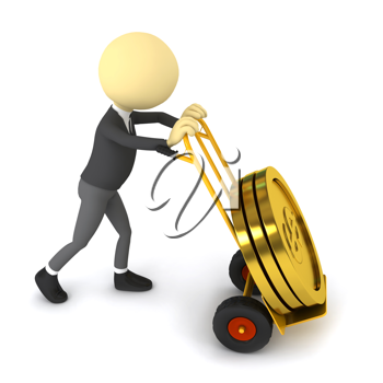 Royalty Free Clipart Image of a Businessman Pushing Coins