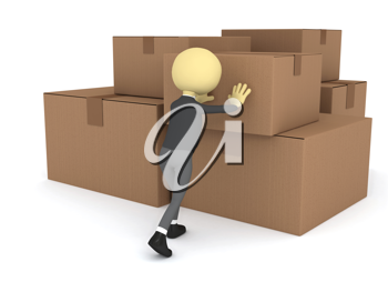 Royalty Free Clipart Image of a Person With Boxes