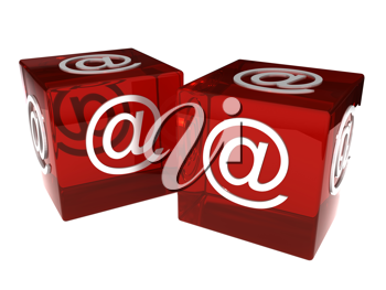 Royalty Free Clipart Image of Two Dice With Emails Signs