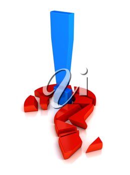 Royalty Free Clipart Image of an Exclamation Mark and Question Mark
