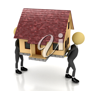 Royalty Free Clipart Image of People Carrying a House