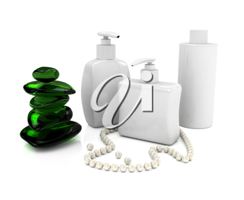 Royalty Free Clipart Image of Bottles of Soap With Pearls