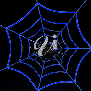 Black spider on blue web. 3d internet concept