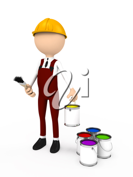 3d person with brush and color. computer generated image