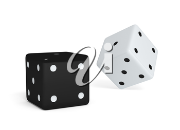 two dices on white background. 3d rendered