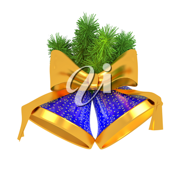 Blue bells with christmas tree decorations
