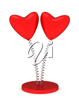 Illustration with a red valentine hearts