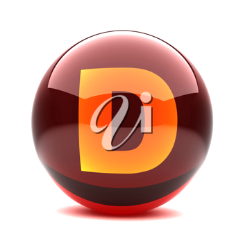 Royalty Free Clipart Image of a Sphere Letter 'D'
