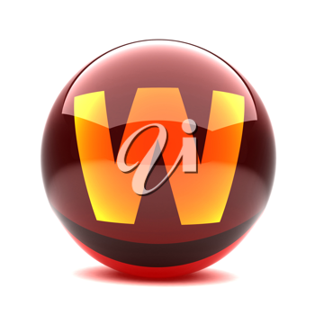 Royalty Free Clipart Image of a Sphere Letter 'W'