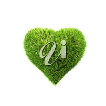 Royalty Free Clipart Image of a Grass Heart