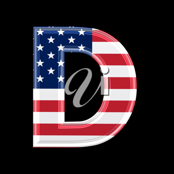 Royalty Free Clipart Image of an American Flag 'D'