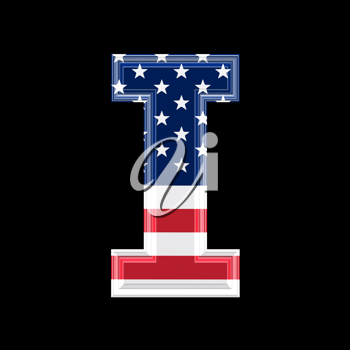 Royalty Free Clipart Image of an American Flag 'I'
