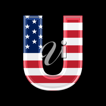 Royalty Free Clipart Image of an American Flag 'U'