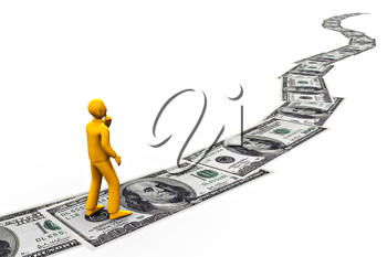 Royalty Free Clipart Image of a Man Following the Money