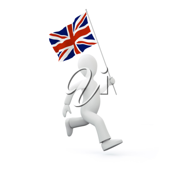 Royalty Free Clipart Image of a Man with United Kingdom Flag
