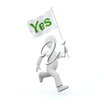 Royalty Free Clipart Image of a Man Holding a 'Yes' Flag