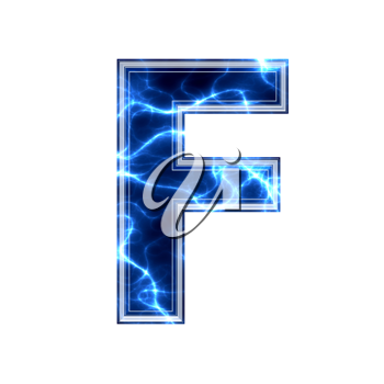 electric 3d letter isolated on a white background - f