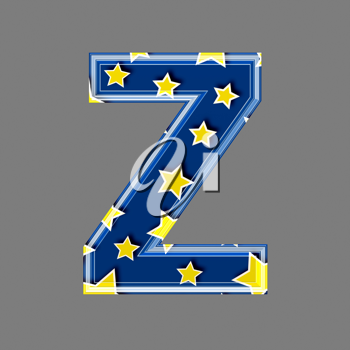 3d letter with star pattern - Z