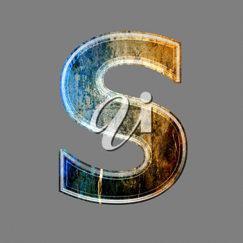 grunge 3d  letter isolated on grey background - S