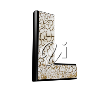 abstract 3d letter with dry ground texture - L
