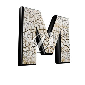 abstract 3d letter with dry ground texture - M