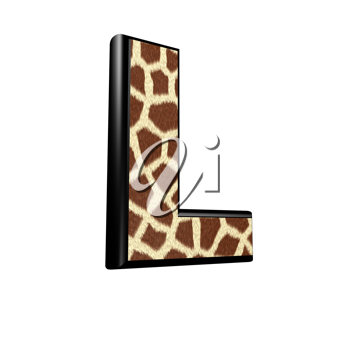 3d letter with giraffe fur texture - L
