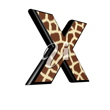 3d letter with giraffe fur texture - X