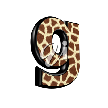 3d letter with giraffe fur texture - g