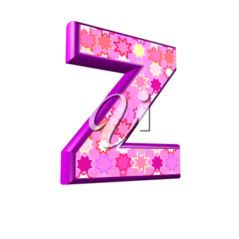 3d pink letter isolated on a white background - z