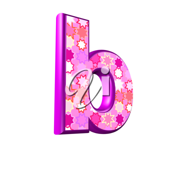 3d pink letter isolated on a white background - b