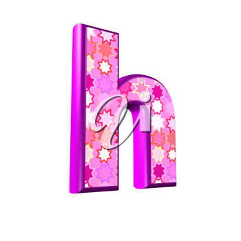 3d pink letter isolated on a white background - h