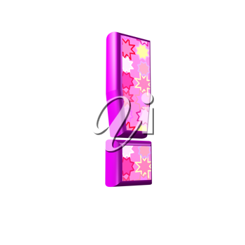 3d pink exclamation point isolated on white background
