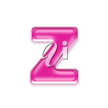 pink jelly letter isolated on white background - z