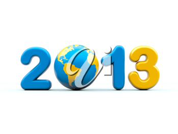 New year 2013 3d shape on white background with glossy globe