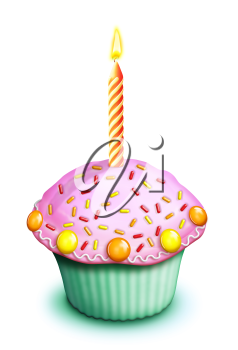 Royalty Free Clipart Image of a Pink Cupcake and Candle