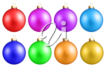 Royalty Free Clipart Image of a Set of Christmas Ornaments
