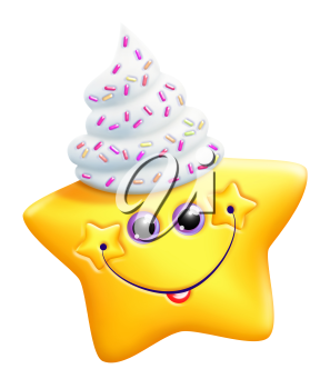 Royalty Free Clipart Image of a Star With Whipped Cream and Sprinkles