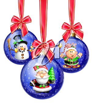 Royalty Free Clipart Image of Hanging Ornaments