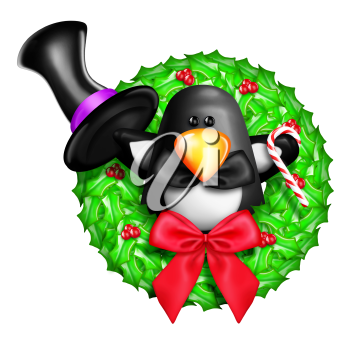 Royalty Free Clipart Image of a Penguin on a Wreath