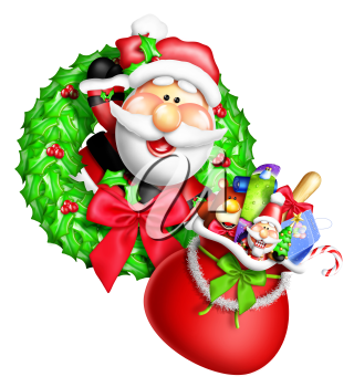 Royalty Free Clipart Image of a Santa Wreath