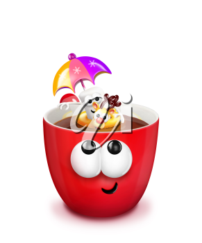 Royalty Free Clipart Image of a Hot Chocolate With a Marshmallow in an Inner Tube